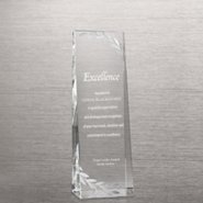 Etched Crystalline Tower Trophy -  Silver Laurels